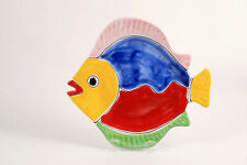LA MUSA Italian Art Pottery Plate Tropical Fish Figural Dish Display Serving VTG