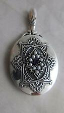 ANTIQUE VICTORIAN STERLING SILVER amethyst seed pearl  PENDANT locket 5.5x3cm