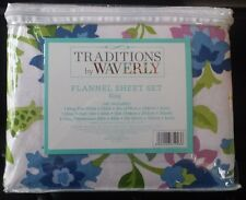 FLANNEL KING SHEET SET FLAT, FITTED SHEETS, 2 KING PILLOWCASES FLORAL MULTICOLOR
