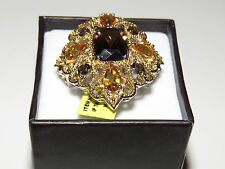 GENUINE BRAZILIAN SMOKEY QUARTZ AND CITRINE HUGE STATEMENT RING IN 14K YELLOW GO