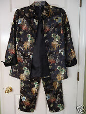 SILKLAND Women's 8 Chinese Asian Black Floral Embroidered Brocade Pantsuit NWOT