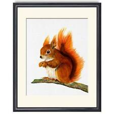 A4 Red Squirrel Watercolour Painting Signed Limited Edition Print Christmas Gift