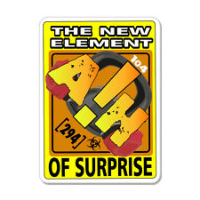 """The New Element Of Surprise Ah Funny car bumper sticker decal 5"""" x 4"""""""