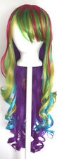 29'' Long Curly w/ Long Bangs Raver Blend Rainbow Cosplay Wig NEW