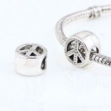 peace sign symbol flower power big hole European slide Charm gift bracelet love