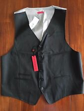JOHN VARVATOS * USA *  THE BLACK-STRIPES SIX BUTTONS  VEST ( LARGE)  $ 225