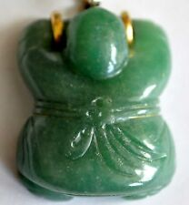 Vintage Chinese Grade A Green Jade Pendant with 14K Solid Gold Clasp (READ)