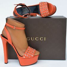 GUCCI New sz 36 - 6 Designer Womens Platform Heels Shoes Sandals orange studded