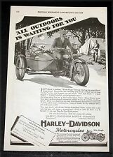 1928 OLD MAGAZINE PRINT AD, HARLEY-DAVIDSON MOTORCYCLES ALL OUTDOORS IS WAITING!
