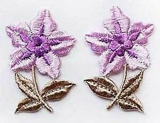 Purple Flower Appliques. 10 Embroidered, Iron-On Patches.