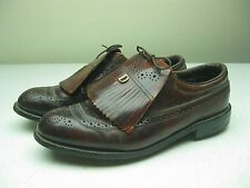 VTG BROWN DISTRESSED DEXTER USA KILTIE LEATHER SOLE STEEL SPIKE GOLF SHOES 9.5 D