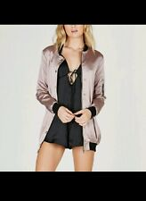 NWT Longline Satin Bomber Jacket Mauve F21 Topshop Urban Outfitters Nasty Gal