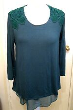 Fashion by Together Jersey & Chiffon Layered Top Emerald Size XS BNWT