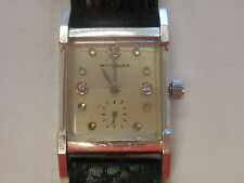 Vintage Longines Wittnauer 10k White Gold GF Mens Diamond Dial Watch 17J 1950s