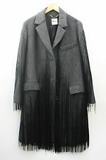NEW Moschino Wool Coat Fringing Grey Jacket Oversized Size 10 12