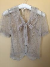 Anne Valerie Hash Lace Top French Haute Couture Designer Size S