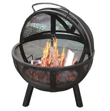 """30"""" Sphere Steel Ball Fire pit With Mesh Cap, Chrome Grill, Rain Cover & Poker"""