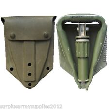 BRITISH ARMY TRI FOLDING SHOVEL + RUBBER CASE  HEAVY DUTY NATO TOOL CAMPING