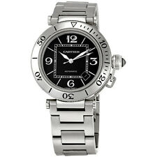 Cartier Pasha Seatimer Automatic Black Dial Steel Mens Watch W31077M7