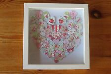 Handmade wall hanging picture shabby chic HEARTS IN HEART SHAPE box frame gift