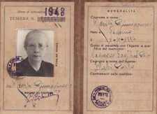 TESSERA FERROVIE DELLO STATO DI RICONOSCIMENTO DIPENDENTE 1948 TORINO 19-126