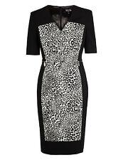 Per Una Speziale Cotton Rich Leopard Print Panelled Shift Dress Size 8 RRP £85