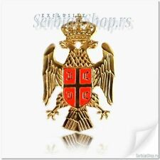 SRBIJA WHITE EAGLE Coat of Arms Serbia Cockade Serbian Gold Color