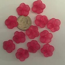 28 pcs Beautiful Frosted Raspberry Pink Small 21mm Pansy Flower Acrylic Beads