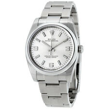 Rolex Airking Silver Arabic Index Dial Domed Bezel Mens Watch 114200SASO