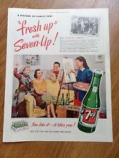 1951 7up Soda Pop Bottle Ad A Picture of Family Fun Girl Artist Oil Painting