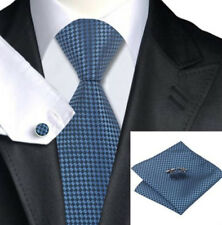 Mens Blue And Black Plaid Silk Woven Tie+Hanky & Cuflinks Matching Set 47