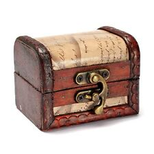 Vintage Stamp Small Metal Lock Jewelry Treasure Chest Case Handmade Wooden Box