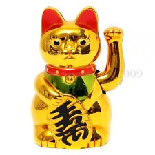 5'' Chinese Lucky Wealth Gold Maneki neko Cat Waving Arm Powered By AA Battery