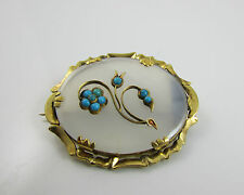 Antique Victorian Yellow Gold Chalcedony & Turquoise Forget-Me-Not Brooch