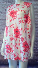 lagenlook Linen floral red white cami vest sleeveless top 22 M&S new with tags