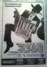 TALKING HEADS True Stories film 1986 UK Press ADVERT 8x6 inches