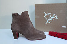 New sz 8 / 38.5 Christian Louboutin Tiagada Tan Suede Red Sole Ankle Boot Shoes