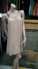 BNWT Gorgeous Women's Silk Dress Tunic BY Vila In Nude With Bronze Details Sz M