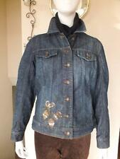 COLDWATER CREEK WOMEN'S EMBELLISHED FULL BUTTON CLOSURE BLUE JEAN JACKET SIZE 4