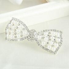 New Diamante Rhinestones Pearl Handmade Bow Alligator Hair Clip Girls Barrette