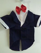 NEW Cute! Stunning  Black & White  Dog Tuxedo Coat with Red tie XL 100% Cotton