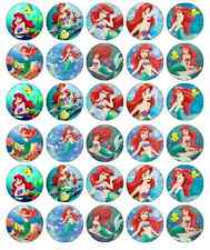 30 x Little Mermaid Ariel Cupcake Toppers Edible Wafer Paper Fairy Cake Toppers