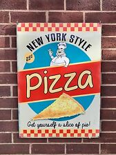 New York Style Pizza - XL Tin Metal Wall Sign