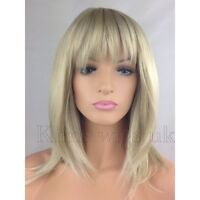 FULL WOMENS LADIES FASHION HAIR WIG TWO TONE BLONDE RAZOR CUT SHOULDER LENGTH UK