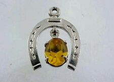Vintage Danecraft Sterling Silver Movable Dangling Gem Inside HORSESHOE Charm
