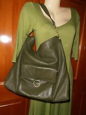 "Womens 14"" X 14 X 5 Slouch Shoulder bag Tote Green TALBOTS Thick  Supple Leather"