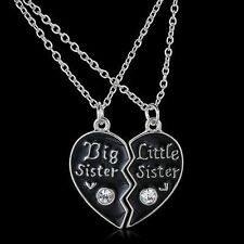 "Black Chain Pendant ""Big Sister""&""Little Sister"" Jewelry Heart Necklace"