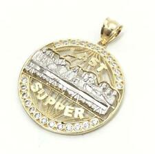 NEW 10K YELLOW GOLD 26 MM DIAMETER LAST SUPPER PENDANT MENS LADIES 10KT CHARM