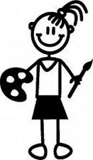 Sticker ~ MY FAMILY  Car Stickers  ~ GIRL ~ WITH PAINTBRUSH (G1)