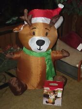 CHRISTMAS GEMMY LED LIGHTED AIRBLOWN INFLATABLE REINDEER DEER FIGURE YARD DECOR